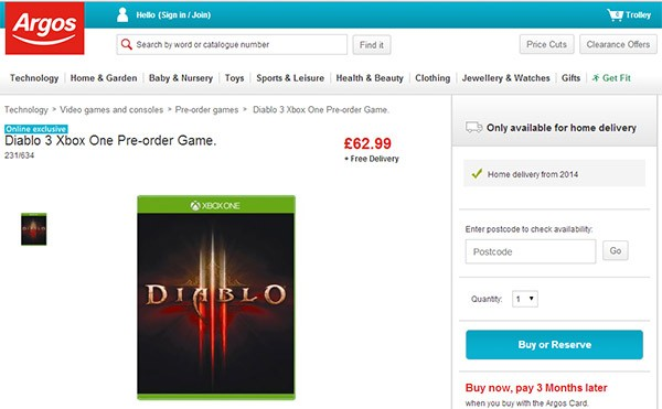 Diablo 3 in pre-ordine nella versione per Xbox One, sullo store britannico Argos