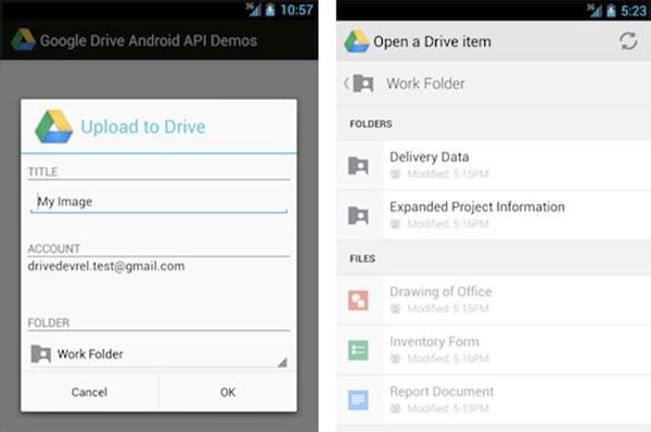 Google Drive Android API permette il salvataggio dei file da parte delle applicazioni sulla piattaforma di cloud storage