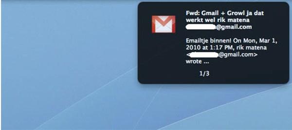 Le email segnalate da Google Notifier su Mac