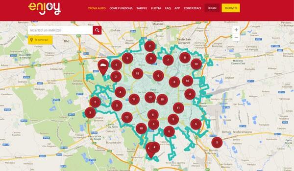 È possibile conoscere in tempo reale la posizione di tutte le vetture messe a disposizione dal servizio di car sharing enjoy