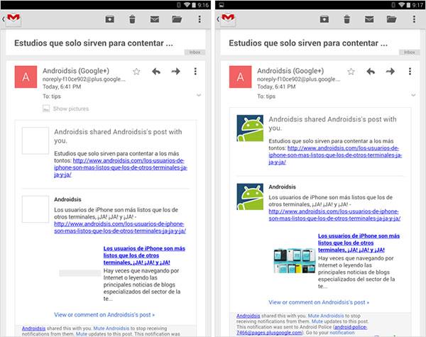 A sinistra la precedente versione di Gmail per Android con le immagini allegate ai messaggi nascoste, a destra la release 4.7.2 che le mostra automaticamente