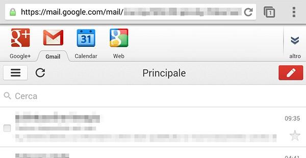 La versione di Gmail accessibile tramite browser mobile