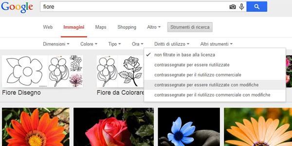 Da oggi è possibile filtrare le immagini trovate con Google in base ai diritti di utilizzo, direttamente dalla pagina dei risultati
