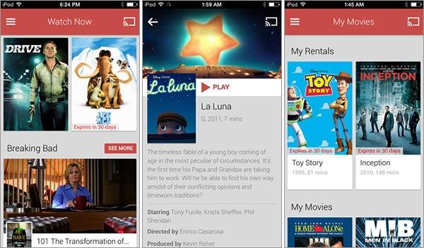 Screenshot per l'applicazione Google Play Movies in versione iOS