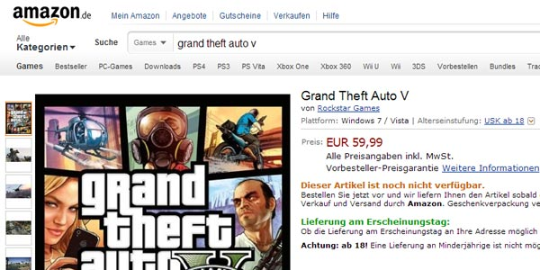 La versione PC di Grad Theft Auto 5 è disponibile per il pre-ordine su Amazon Germania