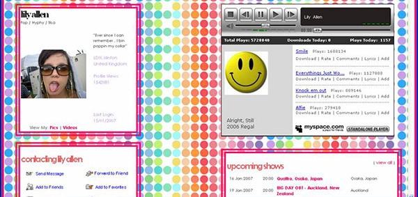 Vecchio Myspace di Lily Allen