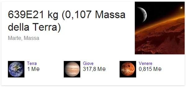 La massa di Marte confrontata con quella di altri pianeti, nella pagina dei risultati di Google