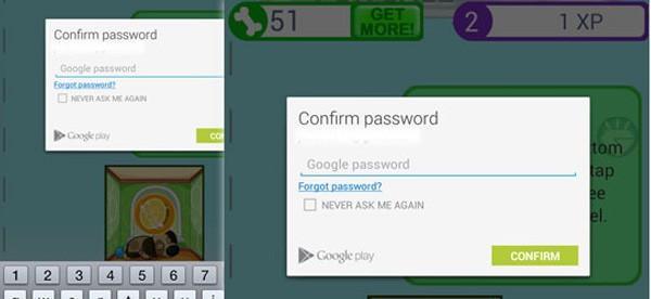 La schermata di immissione della password necessaria per gli acquisti in-game su Android