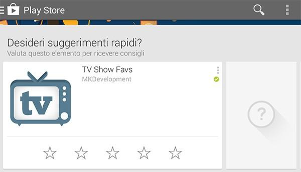 """Il box """"suggerimenti rapidi"""" introdotto da Google nell'applicazione Play Store, per valutare in modo veloce le applicazioni Android"""