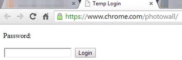 Il modulo con il campo di testo per la password, visualizzato all'indirizzo chrome.com/photowall