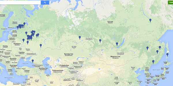 Le città coperte dal servizio Street View in Russia