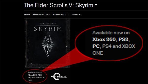 Lo screenshot del sito ufficiale Bethesda, che svela l'arrivo di The Elder Scrolls V: Skyrim su PS4 e Xbox One