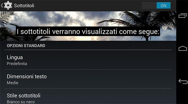 Le opzioni per la visualizzazione dei sottotitoli incluse in Android 4.4 KitKat