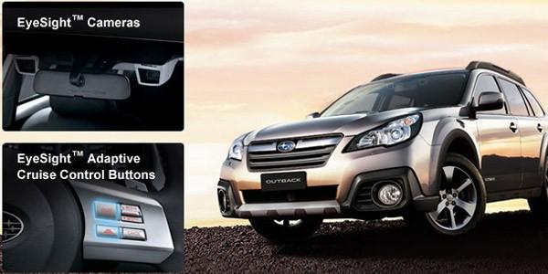 La doppia videocamera e i controlli della tecnologia EyeSight integrata sulle vetture Subaru