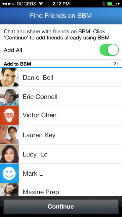 La funzionalità Find Friends in BBM per iPhone.