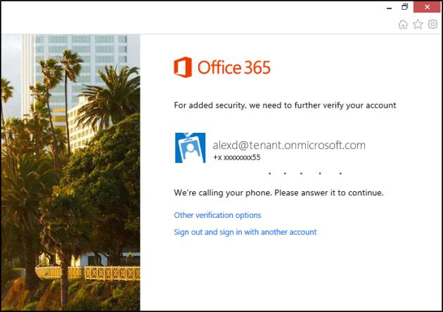 La funzione di autenticazione multi-factor in Office 365 chiede all'utente di rispondere al telefono.
