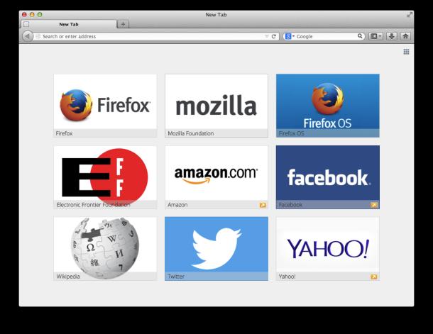 Il mock-up mostra i siti sponsorizzati nella pagina Nuova scheda di Firefox.