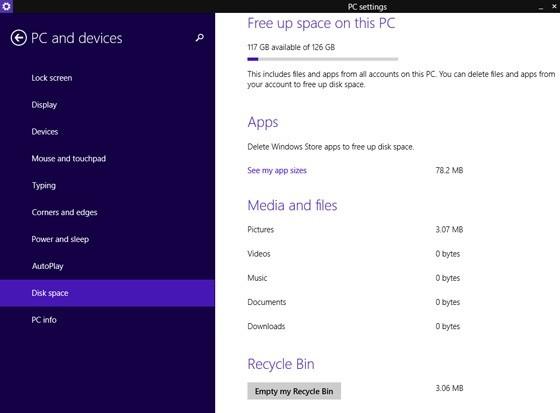 La nuova sezione che permette di controllare lo spazio occupato app, file e media.