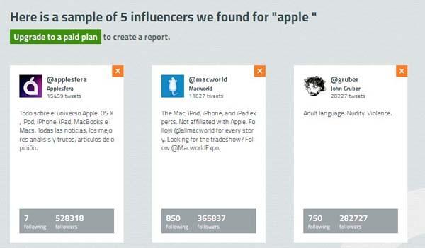 """Un esempio di come funziona il finder di Buzzoole: la query sul termine """"Apple""""."""