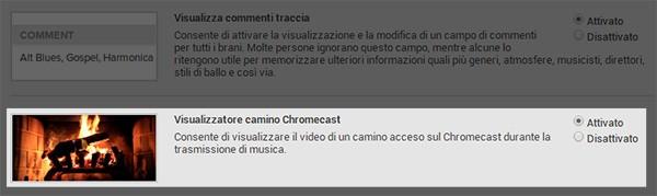 L'opzione da attivare tra le impostazioni Labs di Google Play Music per visualizzare un camino sulla TV mentre si ascolta la musica con Chromecast