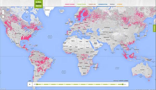 Le aree del pianeta colpite dal fenomeno della deforestazione, secondo Global Forest Watch