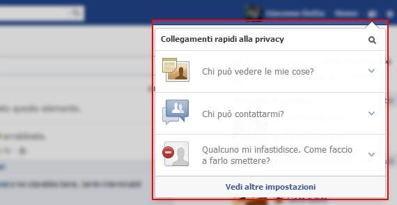 Impostazione della privacy su Facebook
