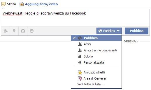 Come regolare i limiti di divulgazione degli status su Facebook