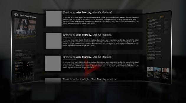 L'interfaccia utente di Bing nel film RoboCop.