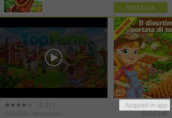 L'applicazione Play Store su Android segnala la presenza di acquisti in-app già dal mese di dicembre