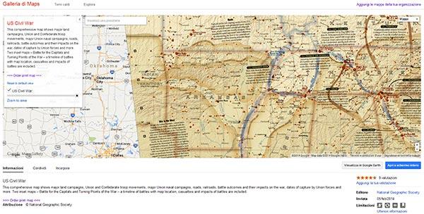 US Civil War su Google Maps Gallery