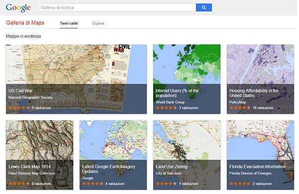 L'interfaccia di Google Maps Gallery