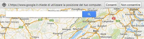 Il messaggio che chiede l'autorizzazione per utilizzare la posizione geografica dell'utente, in modo da determinare la sua posizione (su browser Chrome)