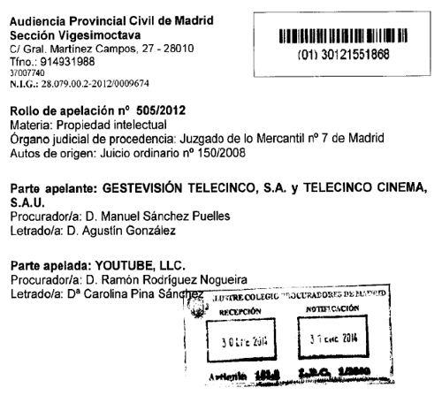 Estratto della sentenza Telecinco vs Google
