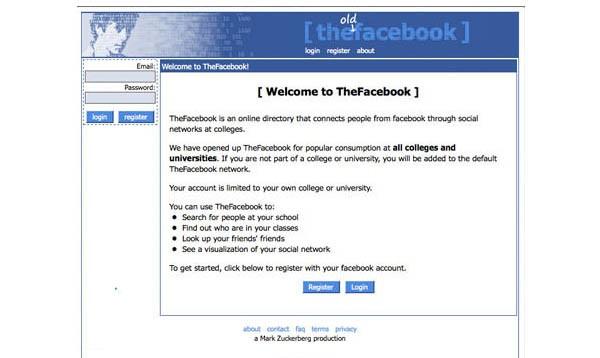 Questa la home page di thefacebook.com, nel febbraio 2004.