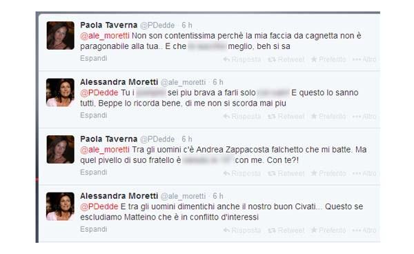 Lo scambio di battute salaci tra le due deputate Alessandra Moretti (PD) e Paola Taverna (M5S) ha sconvolto stamani il social. Unica spiegazione: sono entrambi stati hackerati. Un ennesimo salto di qualità dopo i fake tweet riprodotti ad arte e diffusi sui social per scatenare flame.
