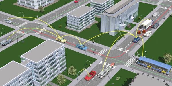 Ecco come funzionano le tecnologie V2V (Vehicle-to-Vehicle): ogni automobile o mezzo di trasporto trasmette informazioni a quelli nelle vicinanze, avvisando i conducenti di lavori in corso, incidenti o altri ostacoli presenti sulla strada