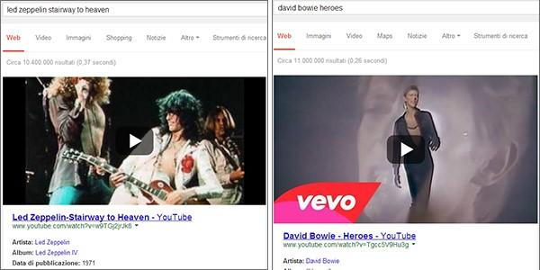 Cercando il nome di un artista o band seguito dal titolo di un brano, nelle pagine dei risultati di Google i video di YouTube compaiono in prima posizione