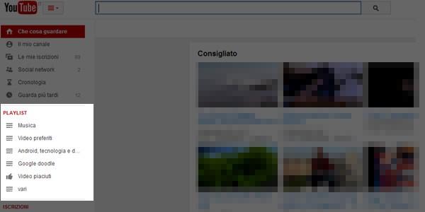Il riquadro Playlistfa la sua comparsa nella parte sinistra della homepage di YouTube