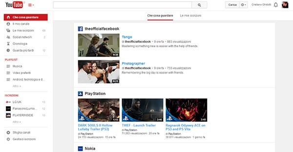 Con i ritocchi apportati al layout di YouTube torna l'allineamento centrato dei contenuti nella pagina