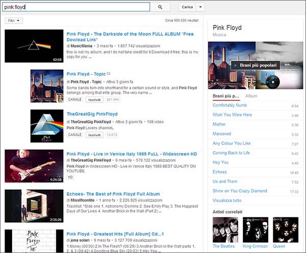 Cercando un musicista o una band su YouTube, la piattaforma mostra un box con brani più popolari, discografia e artisti simili