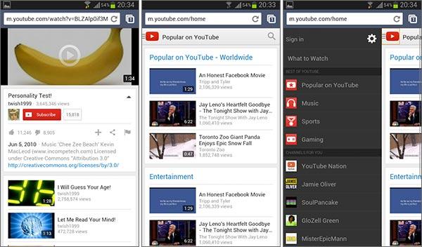 Il nuovo layout per la versione mobile di YouTube