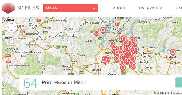 Sono ben 64, nella sola città di Milano (e dintorni) le stampanti 3D messe a disposizione sulla piattaforma 3D Hubs