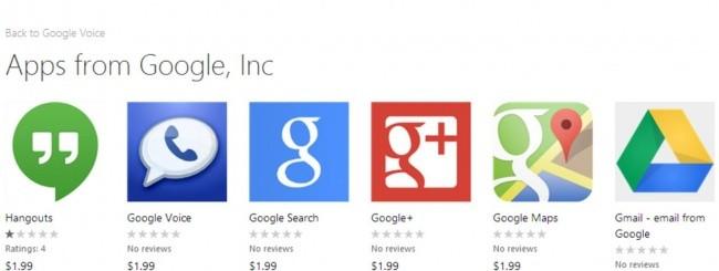 App Google - Windows Phone Store