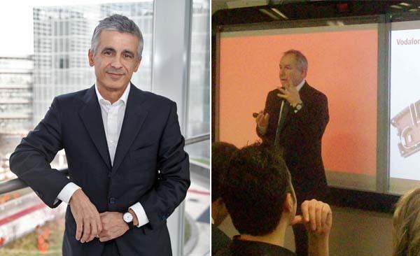 A sinistra: Aldo Bisio, amministratore delegato di Vodafone Italia dal 1° gennaio di quest'anno. Dal 2004 al 2006 è stato Direttore Generale di RCS quotidiani. Ingegnere meccanico, ha lavorato in McKinsey. A destra: Ferruccio Borsani, direttore commerciale. Ha presentato il Vodafone center ai giornalisti.