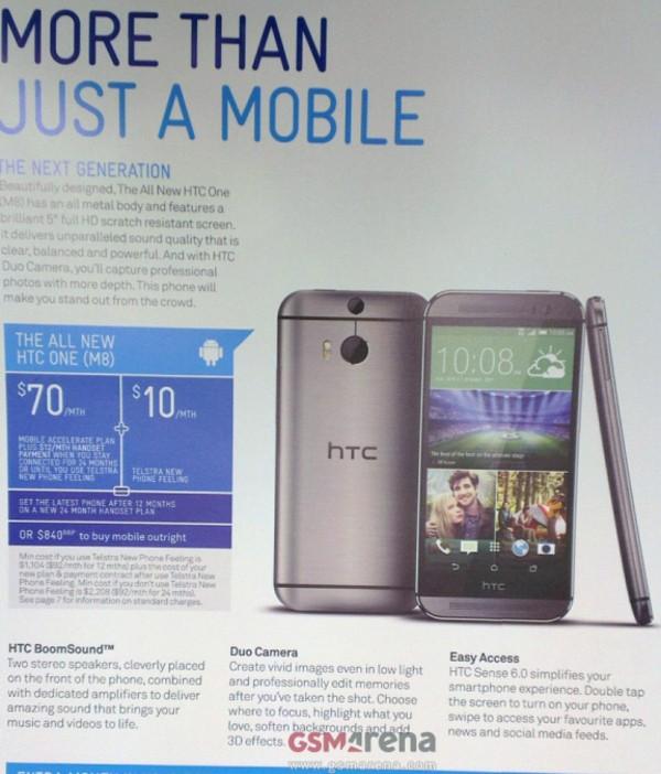 La brochure di Telstra svela il nuovo HTC One