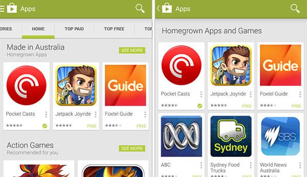 """La sezione """"Made in Australia"""" comparsa oggi sullo store Google Play degli utenti australiani"""