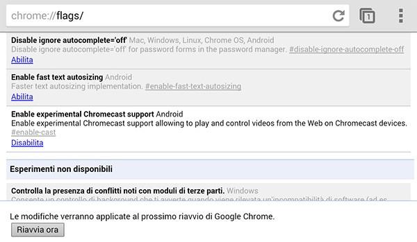 Il supporto a Chromecast nascosto tra le impostazioni flags di Chrome Beta sui dispositivi Android