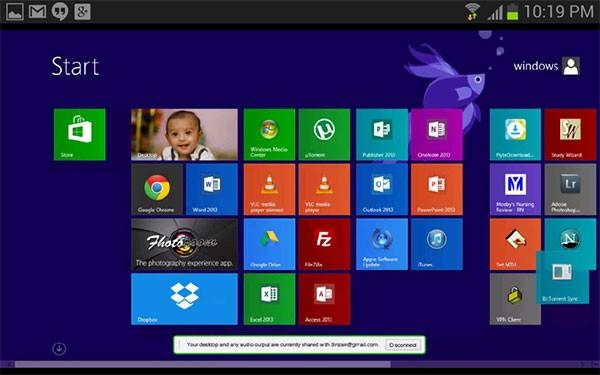 L'interfaccia dell'applicazione Chrome Remote Desktop su Android