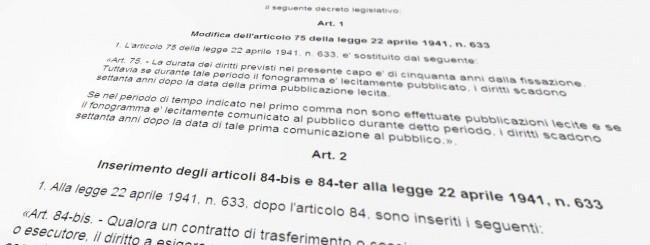 Decreto Legge sul Diritto d'autore