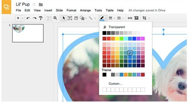 Lo strumento Colora linea introdotto oggi per le Presentazioni e i Disegni di Google Drive, utile per aggiungere un bordo alle immagini inserite nei documenti
